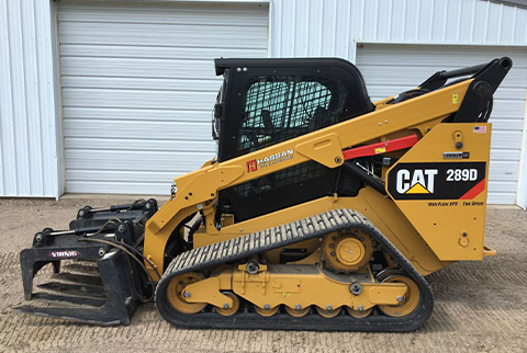 Track skid loader with grapple tine bucket